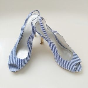 Finoni Blue and White Striped Heels